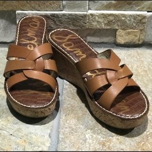 "New Sam Edelman tan, genuine leather 3"" wedges"